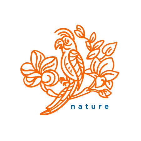 Vector nature symbol. Tropical paradise. Exotic bird and flower, leaves Art simple sketch Vintage summer sticker, hand drawn design Stamp for organic food Bio label, ecology sign on white background