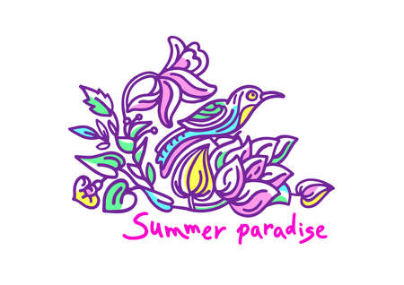 Vector color nature design. Tropical summer paradise Exotic bird and flower, leaves Art sticker Hand drawn cartoon card Funny badge, beautiful decor, floral stamp Retro label on white background