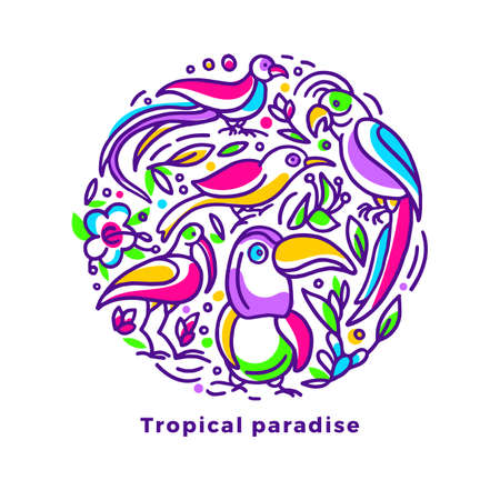 Vector tropical card. Exotic jungle, color bird, nature flower in circle symbol. Rainbow hand drawn paradise Sketch art line print Summer round symbol on white background Wild animal Toucan, parrot Stock Illustratie