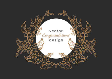 Vector nature emblem. Luxury art rococo romance pattern, elegance frame, vintage wreath. Natural symbol, heraldy card. Bio logo, organic plant, golden label, tropical frame for packing Night and moon Ilustração