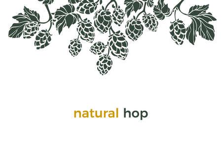 Wektor natura szablon Naturalny chmiel Kształt ramki, obramowanie Bio napój Sztuka transparent na białym tle Stożek ziołowy, liście, gałąź Prosta konstrukcja do druku piwa, pub Żywność ekologiczna Zestaw botanika Organiczny wzór Ilustracje wektorowe
