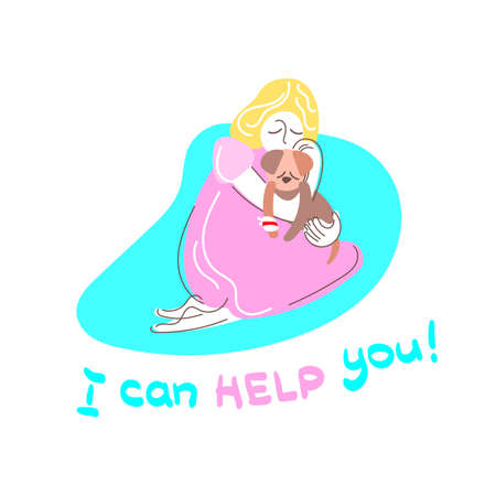 Vector color illustration. Little girl hugging dog Lettering I can help you Caring for homeless animal Disease and treatment Parenting Sympathy and understanding Figure for print on a white background Stock Illustratie