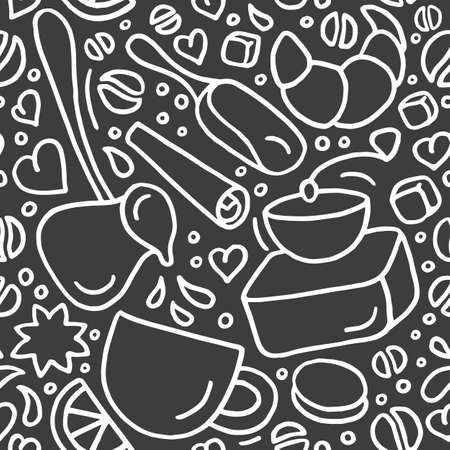 Vector seamless pattern. Aroma natural coffee, sweet dessert on black background Group of doodle element Simple art hand drawn graphic sketch Grain, beans, cup, mill for print, cafe, organic food shop Stock Illustratie