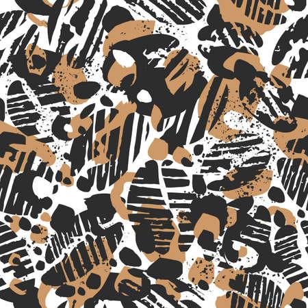 Vector leopard seamless pattern. Abstract texture design. Wild nature Safari exotic illustration Black coffee bean, grain on white background Art hand drawn graphic sketch for fashion print, zoo decor Stock Illustratie