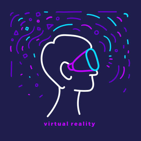 Vector futuristic design. Head, face of man with glasses. Virtual reality. Art line graphic illustration. Network science. Modern human fantasy. Abstract elements of vr interface. Computer technology