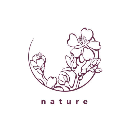 Vector nature icon. Organic card. Botanical beauty symbol of almond branch, leaves, flower. Art template, bio elegance frame. Graphic illustration in circle. Natural luxury product, label, sticker