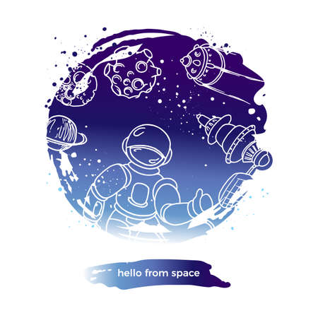Vector abstract design. Hello from space. Futuristic art line doodle symbol in circle. Graphic set of astronaut, planet, rocket, moon. Hand drawn design in round shape. Fantasy cosmo label