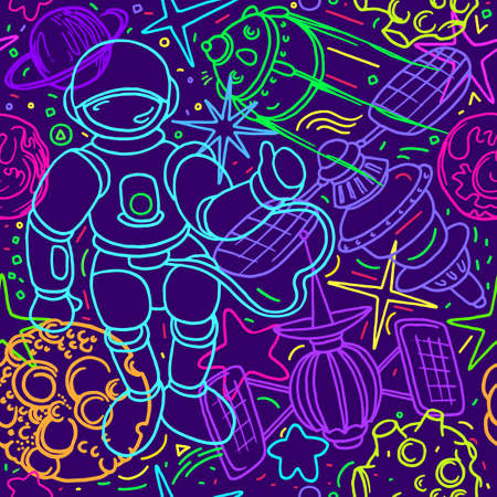 Vector cosmic seamless pattern. Space in cartoon style. Art line doodle illustration. Graphic set of planet, astronaut, rocket, star, moon. Hand drawn funny design, color background. Fantasy wallpaper