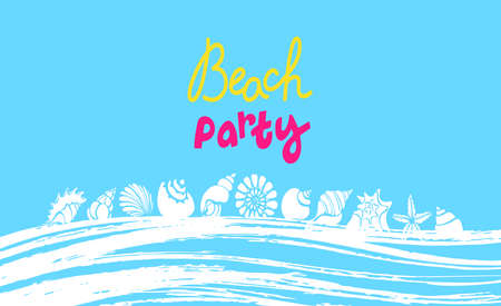 Vector summer template. Tropical beach party banner. Lettering. Enjoy holiday vacation. Relax day. Exotic sea shell, ocean wave, blue sky . Art graphic design. Color card, tropical background.