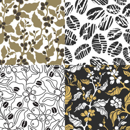 Vector set of seamless pattern. Natural realistic coffee tree, branch, leaf, bean, grain, berry Art line botanical sketch, nature simple background Aroma drink Bio summer design Organic tropical print