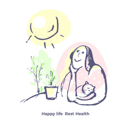 Vector hand drawn sketch. Beautiful smile woman in house with flower and funny cat Sun is shining brightly. Happy positive day. Healthy face, relax. Art graphic concept. Color human illustration