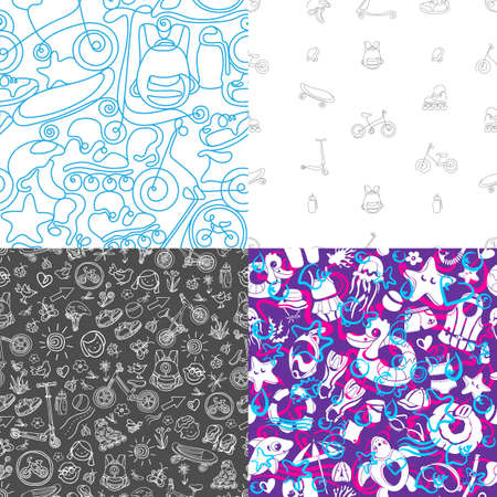 Vector set of seamless pattern. Summer elements for childrens sport, swimming. Art sketch design, print. Doodle shape, wave, texture. Summer childrens holiday. Travel, marine style, color background Stock Illustratie