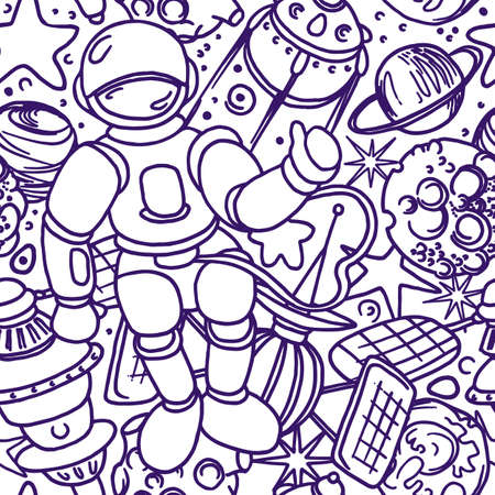 Vector cosmic seamless pattern. Space in cartoon style. Art line doodle illustration. Graphic set of planet, astronaut, rocket, star, moon. Hand drawn simple design, white background Fantasy wallpaper