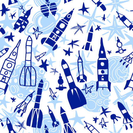 Cosmic vector doodle seamless pattern. Cartoon children illustration, funny composition on white background. Clipart ship, set of rocket, star. Graphic fantasy wallpaper for holiday design, kid print