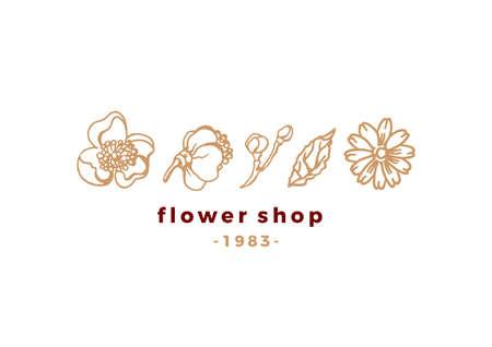 Vector floral set. Beauty logo for shop. Nature elegant emblem. Simple style. Art sketch, hand made illustration on white background. Natural spring, summer flowers for design card