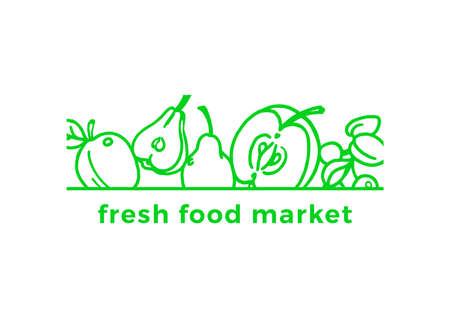 Vector nature organic card. Botanical fresh symbol. Art template, bio natural sign. Fresh illustration with apple, pear, berry. Green food emblem, clean product, vegan label, market sticker