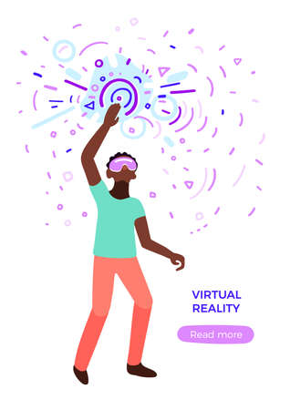Vector futuristic design. Virtual reality concept. Black man figure. Art graphic illustration on white background. Network science. Human fantasy. Abstract elements of vr interface Computer technology Stock Illustratie