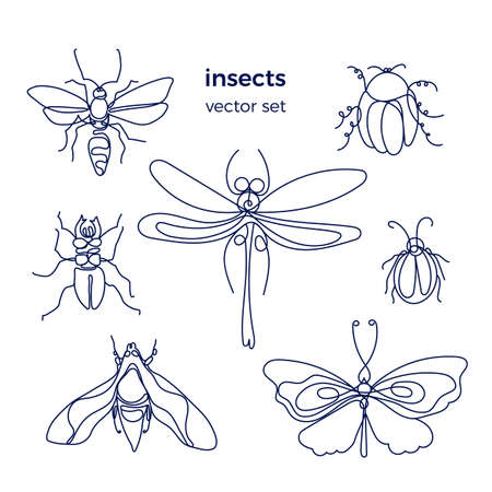 Insect. Bee, bug, moth, dutterfly. Vector set on white background. Line art group. Simple symbol. Black graphic sign Animal collection isolated and grouped Stock Illustratie