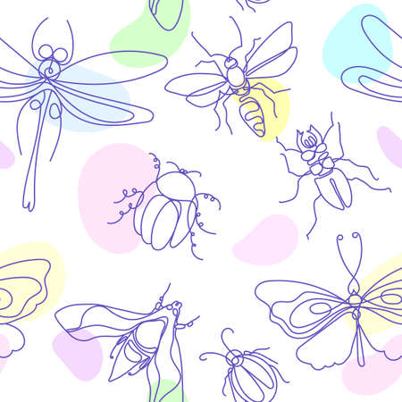 Insect. Elegant bee, bug, moth, butterfly. Vector color seamless pattern on white background. Line art sketch. Simple nice background. Hand drawn graphic print Animal nature set Stock Illustratie