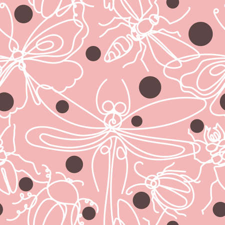 Elegant print in pea-coal. Vector color seamless pattern. Insect. Chic bee, bug, moth, butterfly. Pink nice background. Line art spring sketch. Hand drawn graphic print Animal nature set Vettoriali
