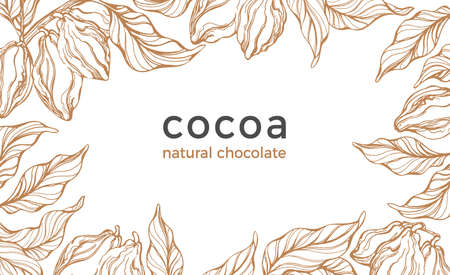 Cocoa frame. Vector nature background. Vintage template Art hand drawn botanical tree, bean, fruit, leaf Organic tropical food, graphic sketch, retro card Cacao border, sweet drink, natural chocolate Stock Illustratie