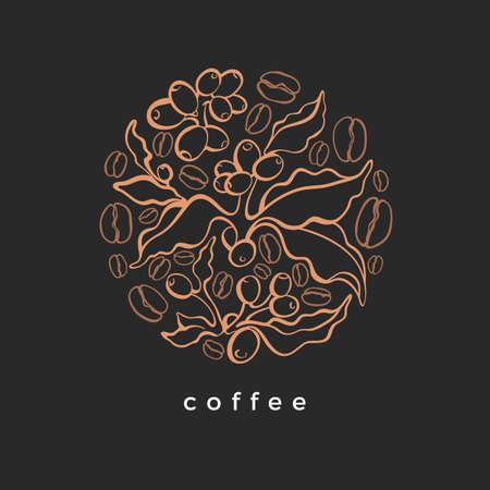 Grain de café, branche. Symbole de vecteur dessinés à la main en cercle. Conception florale vintage. Illustration ronde dorée. Style art déco. Carte élégante. Modèle vintage Vecteurs