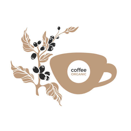 Coffee cup and branch. Vector symbol. Botany shape of tree, black bean. Premium food, natural aroma drink. Art design on white background. Simple sticker. Template for cafe, menu, nature logo Stock Illustratie