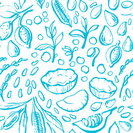 Vegan nature milk. Vector seamless pattern. Natural soy, coconut, pumpkin, almond, sesame, rice. Hand drawn print. Sketch background. Healthy diet. Organic bio food. Vintage wallpapper Ilustração