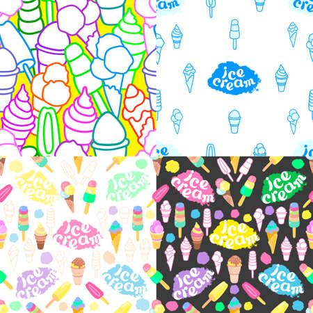 Ice cream. Vector set of sealess pattern. Sweet cold food, milk chocolate dessert. Color summer print. Hand drawn art background. Graphic illustration
