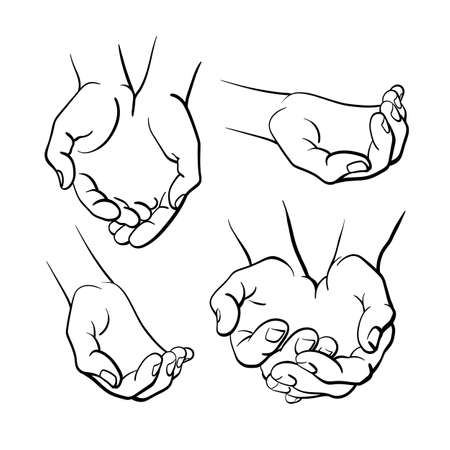 Human hands. Vector set. Top view. Art line illustration on white background. Graphic simple symbol, sketch isolate