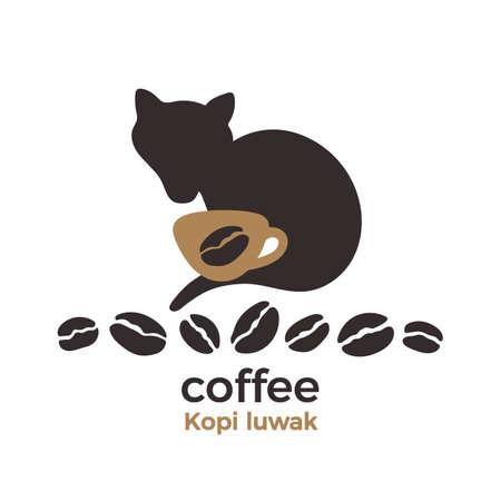 Kopi luwak sign. Animal silhouette. Natural aroma coffee. Art shape, set of bean, animal civet, cup. Indonesia expensive product for shop. Farm organic symbol