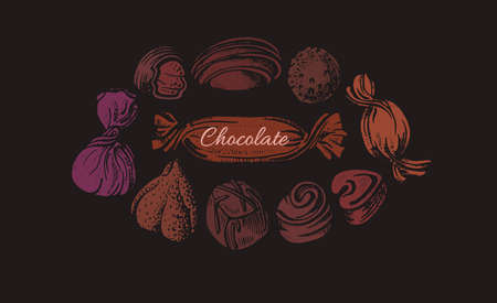 Choco candy in circle. Vector color old template on black background. Art shape, sugar sweet food. Graphic illustration for cafe, cooking class