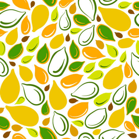 Pumpkin seed. Vector seamless pattern. Natural grain, organic oil, vegan milk. Hand drawn sketch, color illustration on white background. Healthy autumn vegetable. Organic food