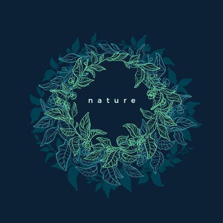 Green nature. Circle symbol. Vector tea leaf. Neon bright wreath. Art design. Natural symbol, floral card. Herbal drink, organic plant. Hand drawn illustration. Night garden