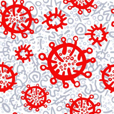 Corona virus seamless pattern. Art hand drawn doodle vector illustration. Illness symptom, bacteria, microbes, methods. Skin human rashes. Control infection. Print for medicine, pharmaceuticals Illustration