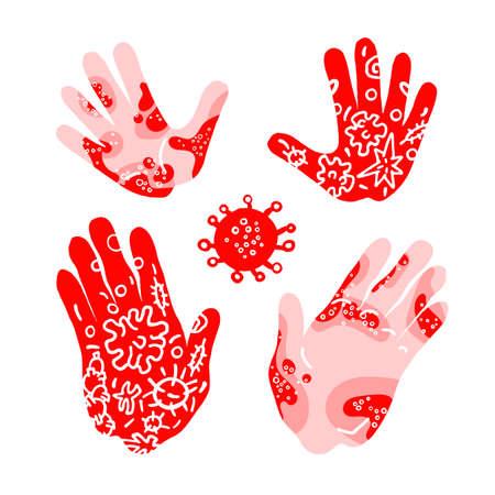 Corona virus. Vector set of human hand. Drawn doodle art illustration. Allergy, illness symptom, bacteria, microbes, methods. Skin human rashes. Control infection. Texture abstract collection Illustration
