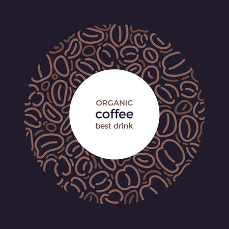 Coffee frame. Vector abstract bean in circle. Art line illustration, graphic pattern on black background. Vintage golden wreath. Aroma natural drink Illusztráció