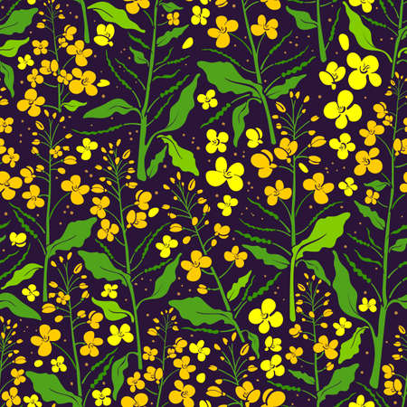 Vector flower seamless pattern. Canola set, mustard plant. Color green leaf, bud, seed, yellow flora. Retro fashion print. Summer field in bloom, art textile background  Illustration