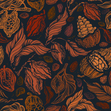 Vintage seamless pattern. Vector color texture autumn garden, royal harvest. Hand drawn art background. Cocoa branch, bean, golden foliage. Antique golden forest. Graphic fashion print. Векторная Иллюстрация