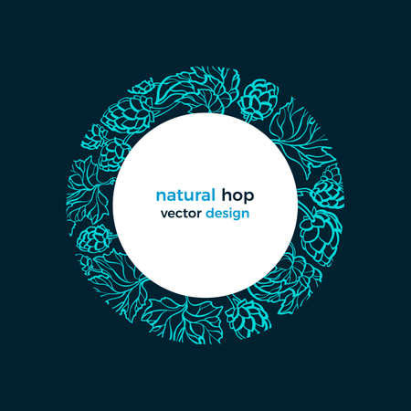 Hop border. Vector cone, leaves in circle. Sketch illustration, organic pattern, art background for beer print, pub. Farm label Ilustração