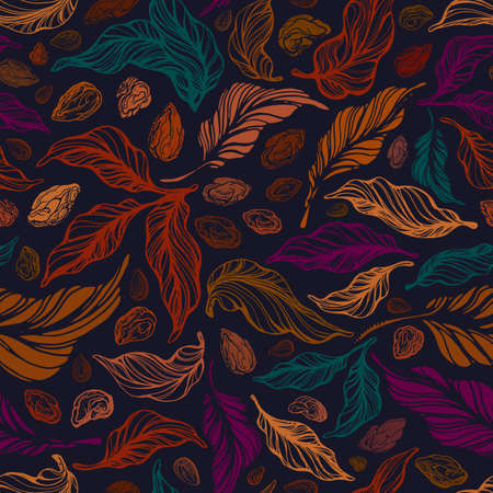 Vintage seamless pattern. Vector color texture autumn foliage. Hand drawn art background. Nuts, abstract seed, golden leaf. Old forest. Graphic illustration, fashion print Ilustração