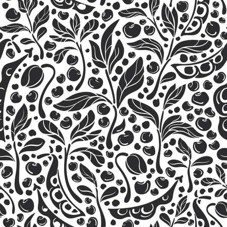 Legumes seamless pattern. Vector pod, bean, sprout, soy, lentils on white background. Natural vegan food. Art graphic illustration. Healthy ingredient, bio product, organic milk, farm field Ilustração