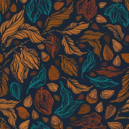Cocoa and nuts sketch seamless pattern. Vector texture fruit, grain, nature branch with golden leaves. Hand drawn vintage background. Graphic abstract print. Organic chocolate butter