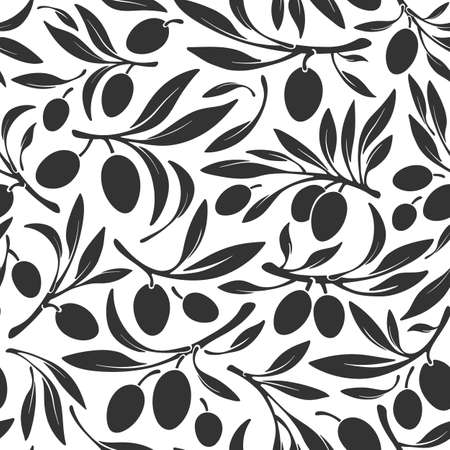 Oliva seamless pattern. Vector branch, black silhouette of berry, wild fruits on white background. Greece, italy organic oil. Nature farm harvest. Vegan food, bio product