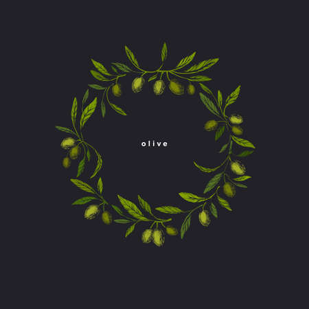 Olives wreath. Vector engraved branch, green fruits in circle. Graphic texture illustration in grunge style. Vintage design. Greek mediterranean food Ilustração