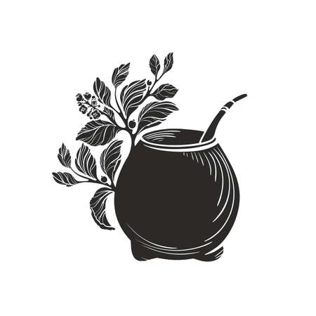 Yerba mate with calabash bowl. Black symbol. Vector shape of nature branch, leaves, texture cup. Art illustration isolated on white background. Healthy traditional tea drink Ilustração