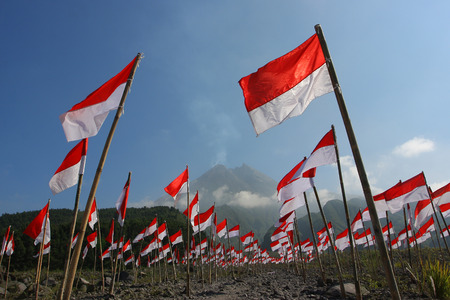 Collection of 1000 Indonesian flags in conjunction of Indonesia independence day. Editorial