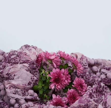 violet flowers in scarf Stock fotó
