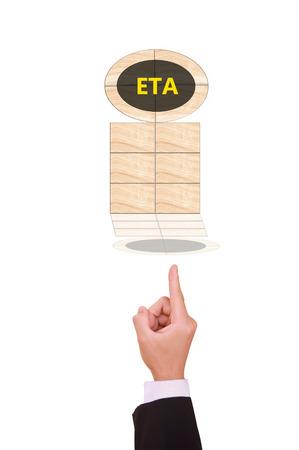 estimated: estimated time of arrival or Accomplishment Stock Photo
