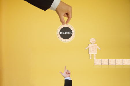 occupational: ISO 45001 based on Occupational health and safety Stock Photo